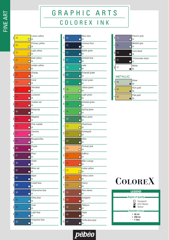Colour Chart Colorex EN1